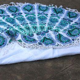Green Turquoise Round Mandala Beach Towel with tassel