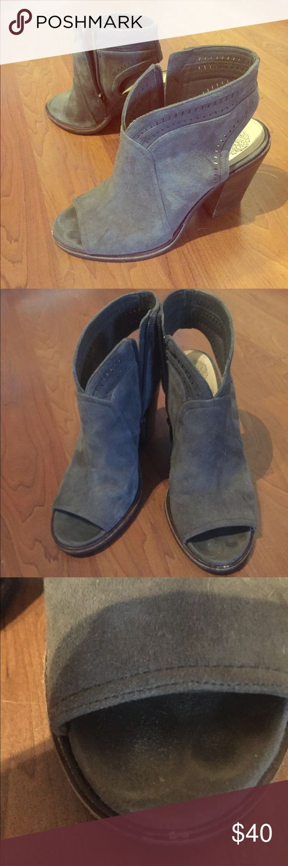Gray Vince Camuto booties. These were a huge hit during last years Nordstrom Anniversary sale!  These were barely worn.  There is a small scuff on the top of the right shoe, and sole of shoe is slightly worn - overall these are in great shape! Vince Camuto Shoes Ankle Boots & Booties