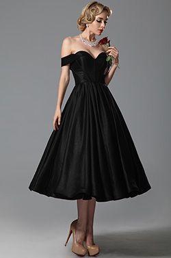 Vintage Sweetheart Off Shoulder Tea Length Party Dress Cocktail Dress (04151600) - USD 126.73