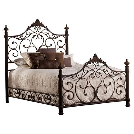 Wrought iron bed with open scrollwork and acanthus leaf accents. Product: Queen bedConstruction Material: Wro...