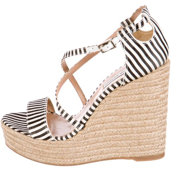Pre-owned Tabitha Simmons Woven Espadrille Wedges (910 RON) ❤ liked on Polyvore featuring shoes, sandals, white, striped espadrilles, black and white sandals, wedge sandals, black and white espadrilles and black white sandals