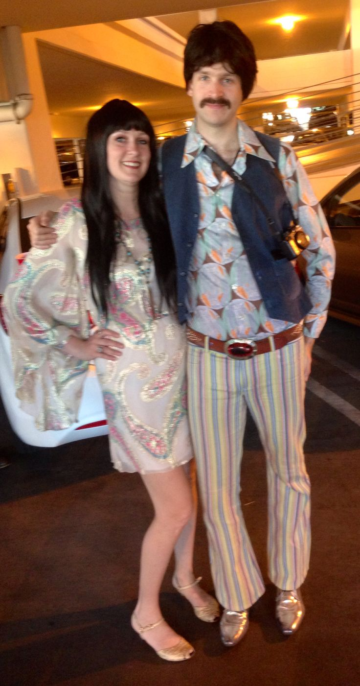 DIY Halloween couples costumes.  We were Sonny and Cher.  Mostly vintage except the Alice and Olivia pants and our shoes.  I would have loved to wear platforms but I had a broken ankle so I had to be very careful.