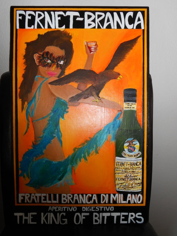 Vintage style fernet branca poster. Acrylic on wood