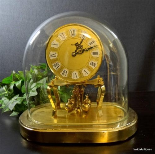 GERMAN ANNIVERSARY 400 DAY ANTIQUE MANTLE CLOCK KUNDO 100% OVAL DOME