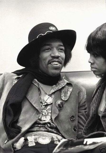 Jimi Hendrix Backstage At Hunter College In New York City, With Lithofayne ( Fayne ) Pridgon, Saturday March 2nd,1968
