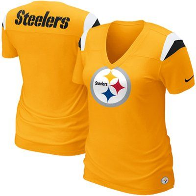 Nike Pittsburgh Steelers Ladies Fashion Football Premium T-Shirt - Gold