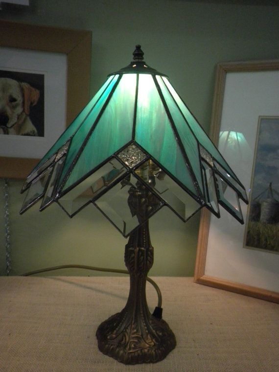 Stained glass / leadlight lamp -  iridized teal and bevelled glass on Etsy, $269.55