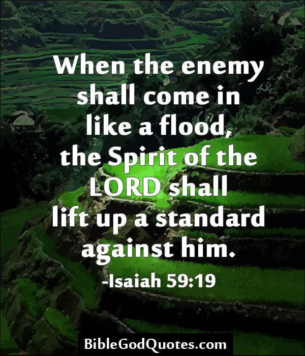 When the enemy shall come in like a flood, the Spirit of the LORD shall lift up a standard against him. -Isaiah 59:19