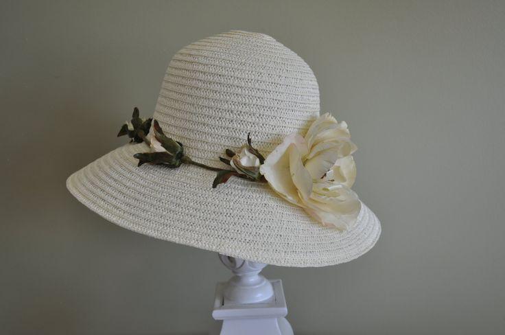Vintage High Tea Hat Beige Roses Kentucky Derby Butterfly Wedding Prop Bridal Hair Accessory Photography Afternoon Tea #kentuckyderbyhat #kentuckyderby #derbyhat