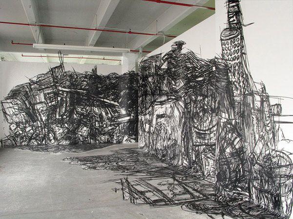 Black masking tape drawings by artist Heeseop Yoon. More images below.        Heeseop Yoon's Website