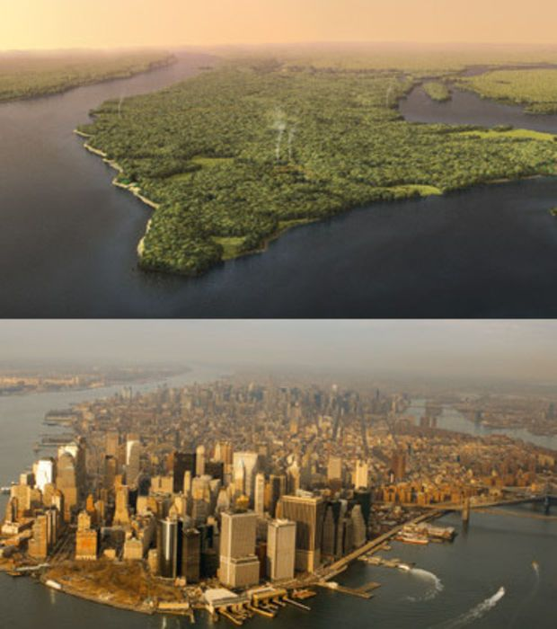 Manhattan, New York en 1609 vs. Manhattan maintenant