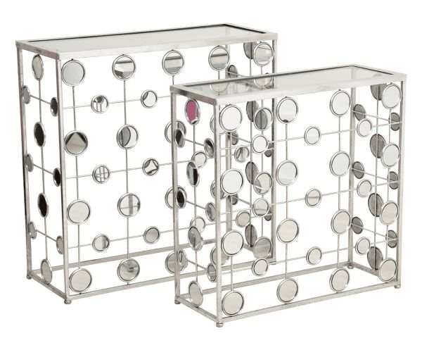 Set di 2 tavolini in metallo argento - max 80x80x32 cm