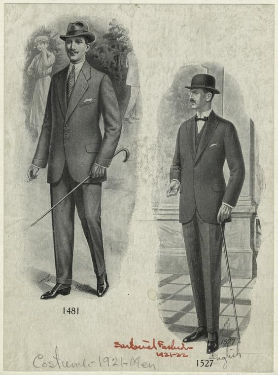 Men In Tailored Clothes England 1920s Written On Border Sartorial Fashion 1921 22