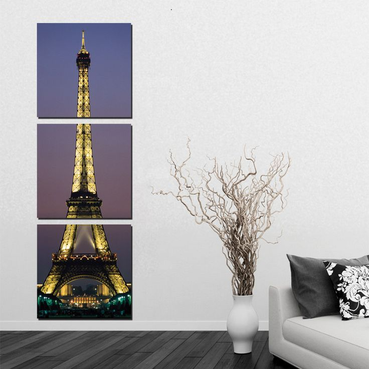 Painting & Calligraphy 3 Panel Paris Eiffel Tower Painting Decor Picture Set Realist Night Landscape Canvas Prints For Living Room Wall Corner No Frame,High Quality printed canvas painting,China print on canvas Suppliers, Cheap canvas print