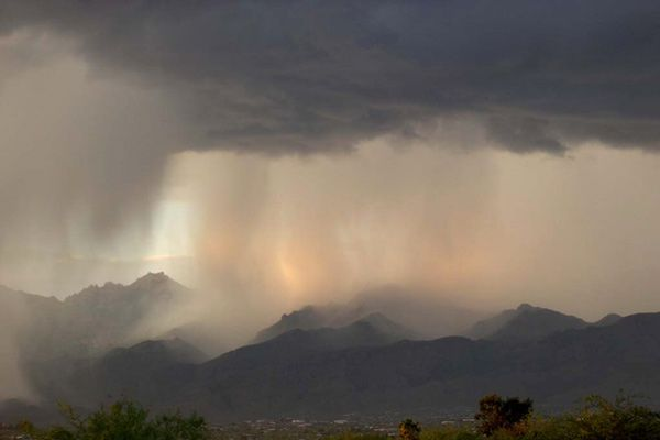 Monsoon over the Catalina Mountains in Arizona ...