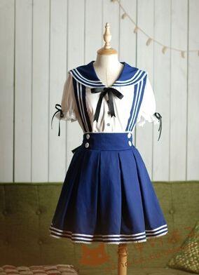 Japanese kawaii sailor straps skirt+shirt two-piece - Thumbnail 4