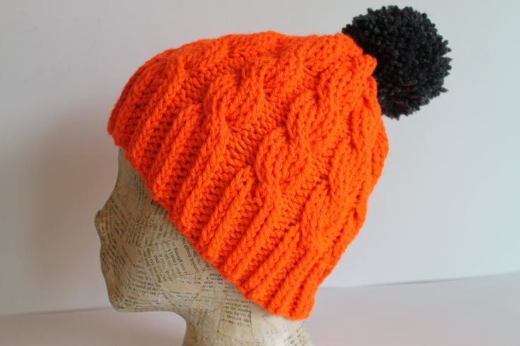 Funky Unisex Orange Hand Made Cable Knit Toque Hat Beanie with Grey Pom Pom by FunkieFrocks on Etsy
