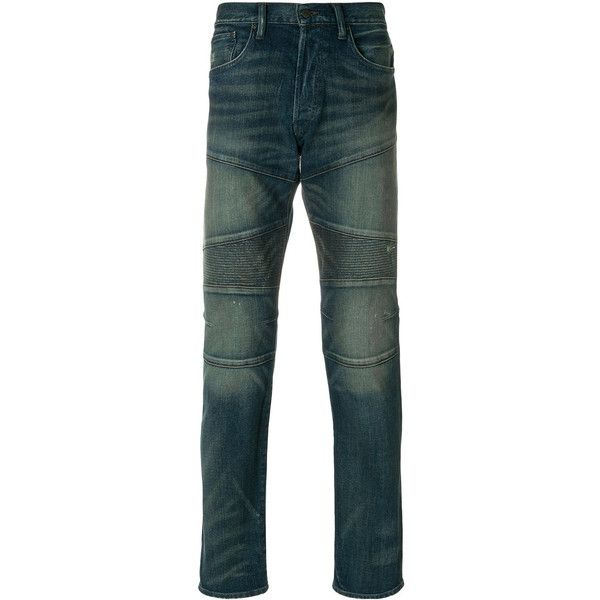 Polo Ralph Lauren biker style faded jeans ($289) ❤ liked on Polyvore featuring men's fashion, men's clothing, men's jeans, blue, mens biker jeans, polo ralph lauren mens jeans, mens blue jeans and mens faded jeans