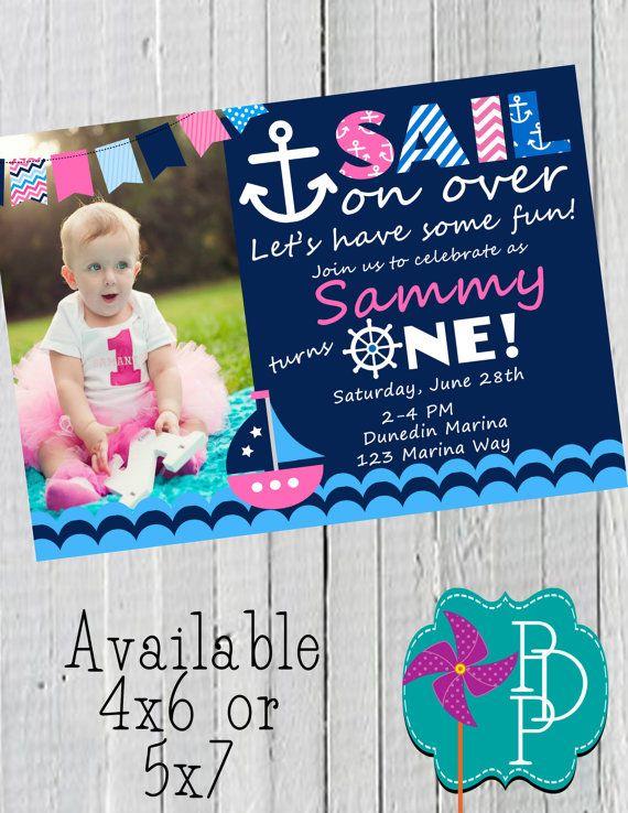 Nautical Girl Birthday Invitation Printable by PolkaDotPinwheel, $10.00