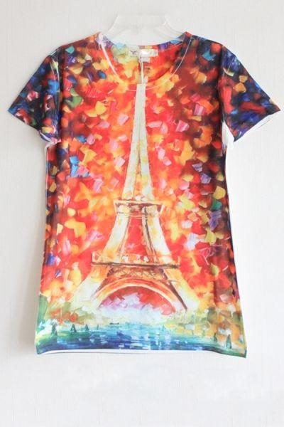 Effiel Tower Print Short Sleeve T-shirt OASAP.com