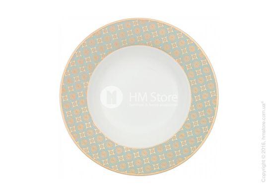 Шикарная посуда Aureus создана для восхищения! Глубокая тарелка из костяного фарфора отлично подойдет для подачи изысканных супов-пюре. Глазурь благородного оттенка селадон и золотые элементы украшают поля тарелки. Подберите соответствующие столовые приборы и Ваш стол будет неотразим!