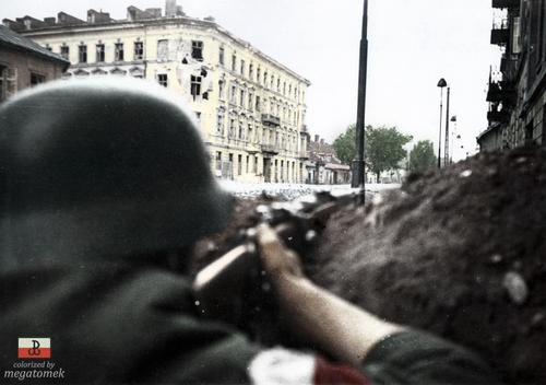 Warsaw Uprising 1944. Looking down the sights of a K98 rifle...