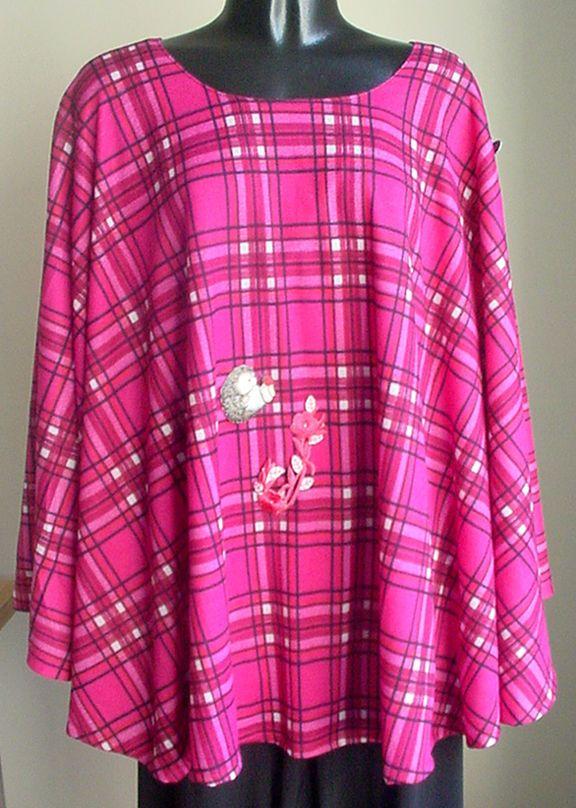 NEW Handmade designer APPLIQUED Cape Poncho sweater-knit RED Plaid - 1size  #ProfessionallyHandmadebySimonaG