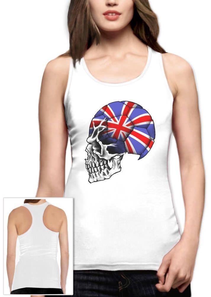 Great Britain World Cup Skull Soccer Team Racerback Tank Top Uk England Football