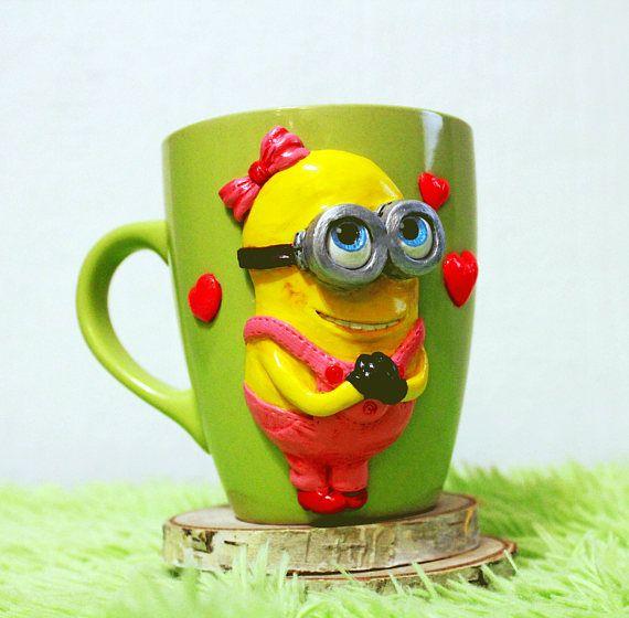 minion mug with polymer clay decorative mug handmade mug gift