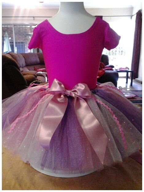 Pink and purple glitter tulle tutu, with bow and ric rac detail.
