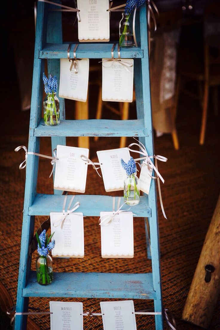 Wedding seating plan vintage ladder by JBCreatives