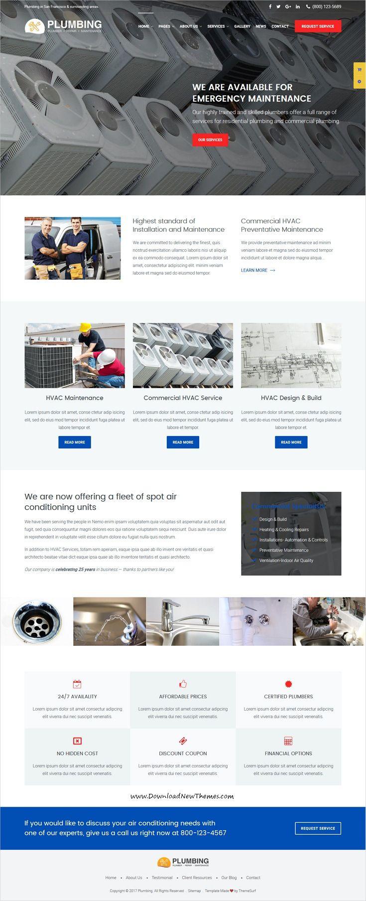 Plumbing Plumber And Repair Services Maintenance Html Template Hvac Design Web Design Tips Plumbing