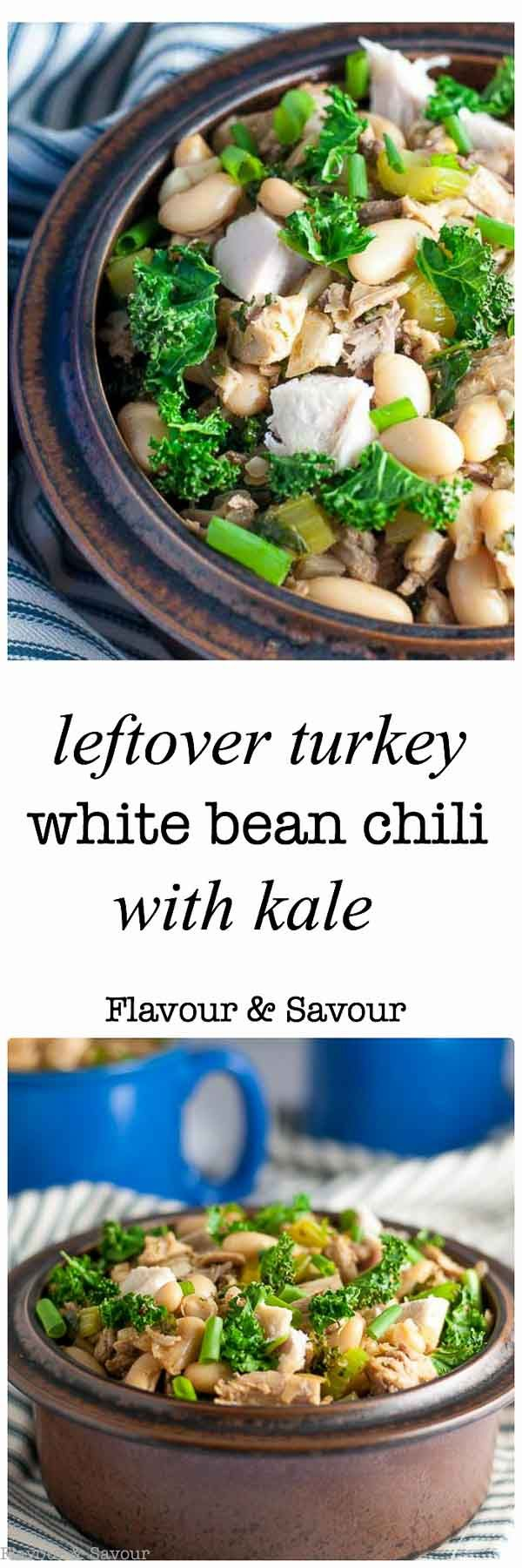 What to do with leftover turkey? Make this Easy Leftover Turkey White Bean Chili. Made with leftover turkey, white kidney beans (cannellini), and kale. via @enessman