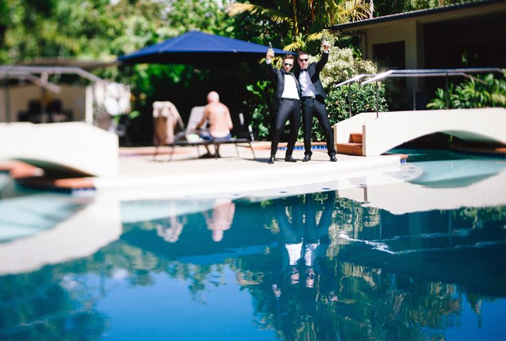 Port Douglas Wedding. Byron and his bro messing about by the pool. www.shaunguestphotography