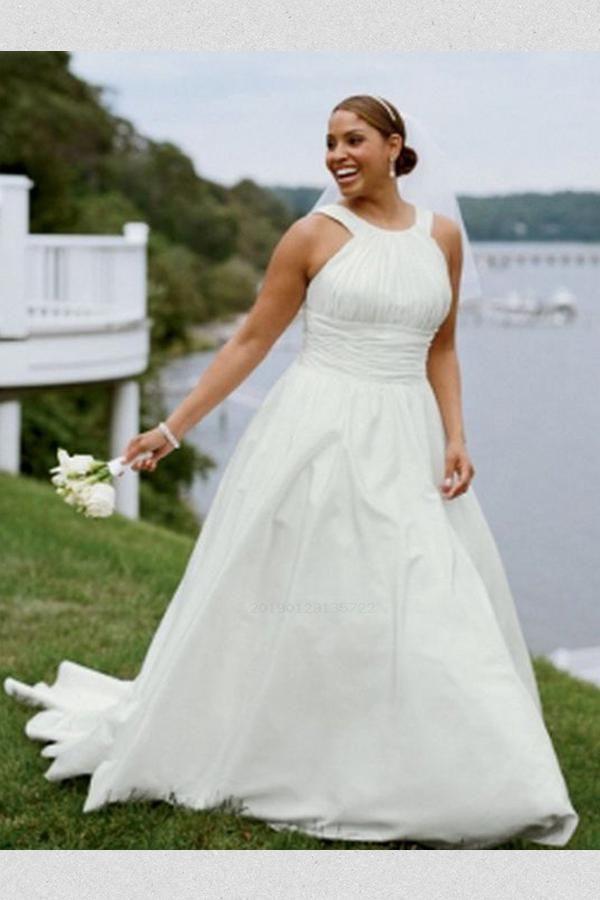 b5dcd7ec4c7 Hot Sale Morden A-Line Wedding Dresses Simple A-line Long Plus Size Wedding  Dress Wedding Dress