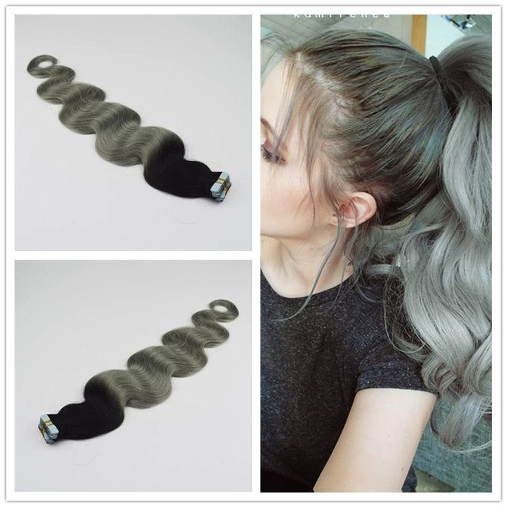 25g Pc 40pcs 100g Ombre Body Wave Grey Tape In Hair Extension Silver