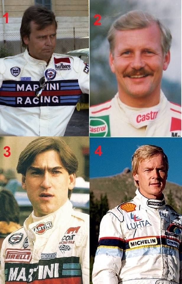 1. Markku Alen 2. Juha Kankkunen 3. Henri Toivonen 4. Ari Vatanen Four of the largest Finnish rally drivers