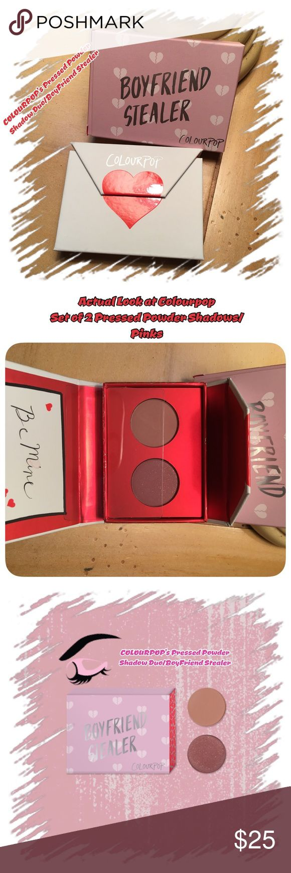 """Nip/Colourpop's New PP Duo Set/Boyfriend Stealer /Nip/COLOURPOP's Pressed Powder Shadow Duo/""""Boyfriend Stealer""""/Package is """"envelope w a kiss""""/This is pics of mine! They did it again! Matte formulation w glide on build-able coverage! W tiny flecks of gold in 1,so wasn't sure? But it's perfect! Shadows in set:""""Dreamboat"""" Matte dusty rose &""""Pretty Cruel Matte Berry mauve w gold flecks! SOFT, build-able coverage this rosy duo will attract all the fellas! U can create any look u…"""