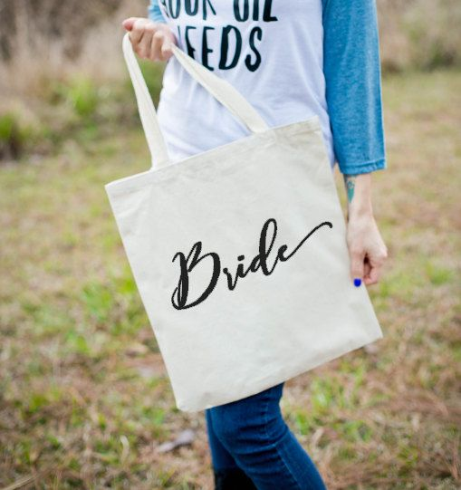 Bride Tote  Gift for Bride  Gift for Bridesmaid  by ThePlaidDeer