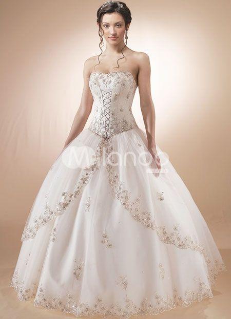 fbfe11bbf42 White Quinceanera Dress Strapless Satin Organza Dress