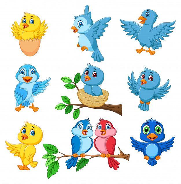 Conjunto De Dibujos Animados Felices Aves Coleccion Aves Volando Dibujos De Pajaro Ilustracion De Ave
