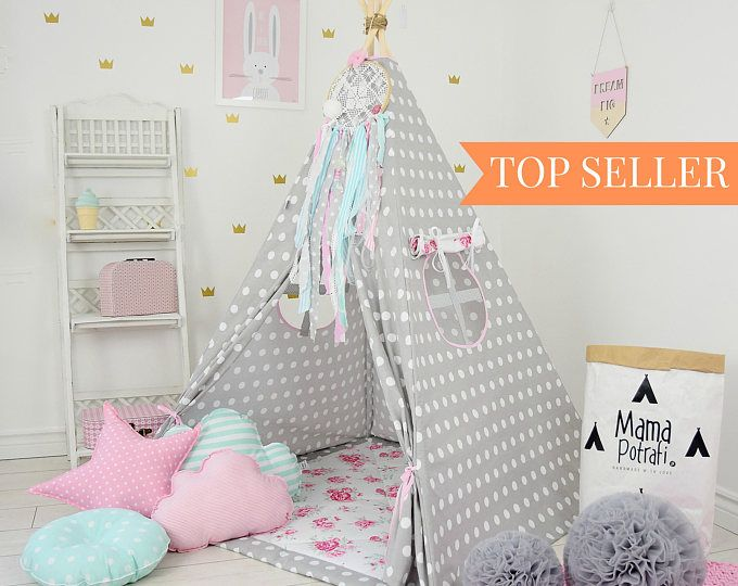 Dotted Teepee - Dotted Tent - Polka Dot Teepee - Polka Dot Tent - Floral Teepee - Flower Tent - Children Teepee - Kids Wigwam - Reading Lamp