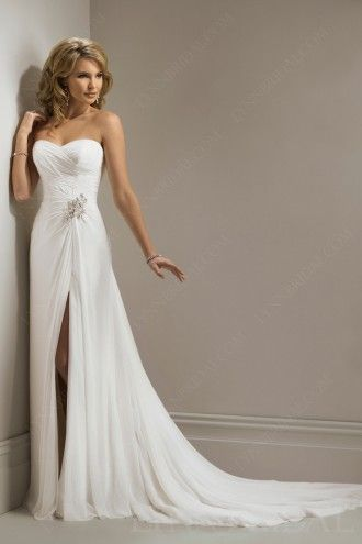 Chic Sheath Sweetheart Chiffon Wedding Dress With Front