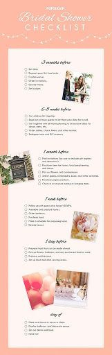 Bridal Shower Checklist. stuff that should be done already: Set date. Request guest list from bride. Confirm venue. Order invitations. Decide theme. Set budget. Get address list together. Email out-of-t