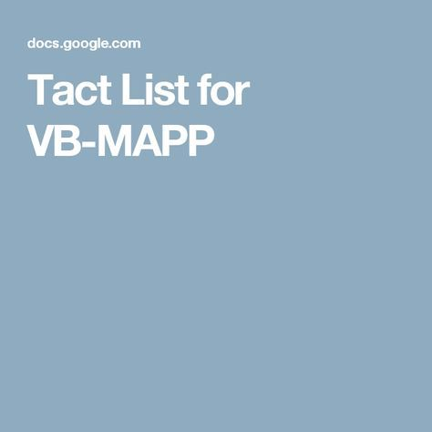 Tact List for VB-MAPP