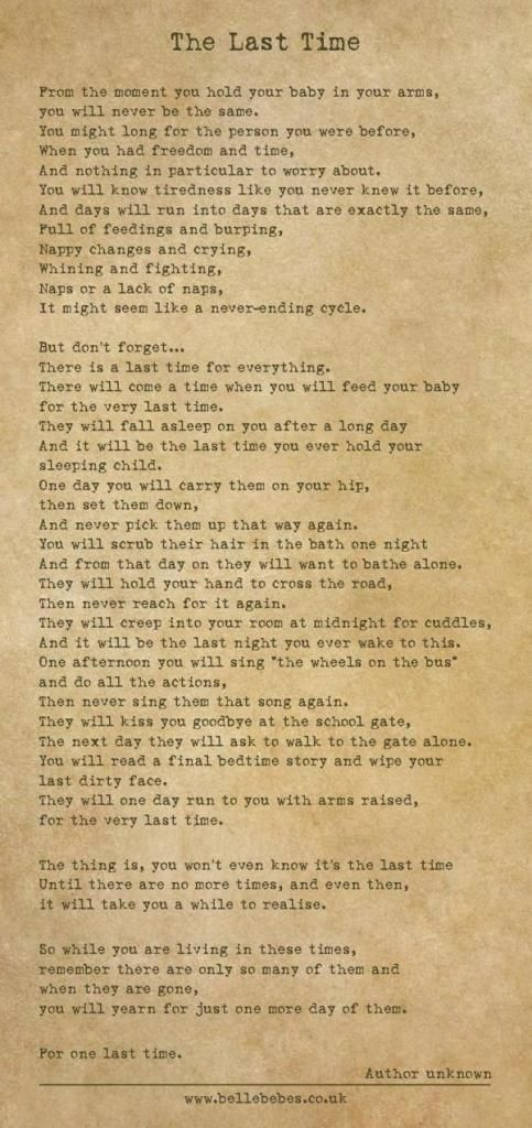 The Last Time: A Poem About Children Growing Up That Makes You Want 50 More