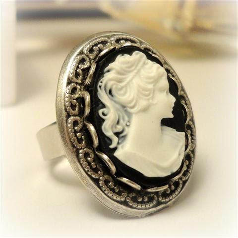 White and Black Cameo Ring Adjustable Victorian by pink80sgirl, $23.00