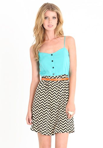 teal and chevron dress. Very cute summer dress