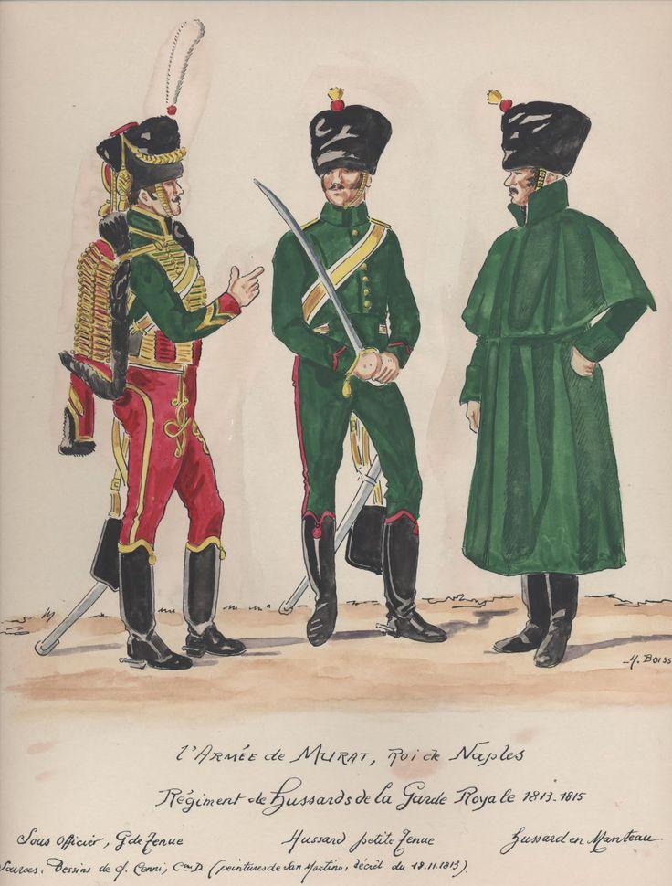 Sottufficiale e ussari del rgt. ussari della guardia reale del regno di Napoli di Murat