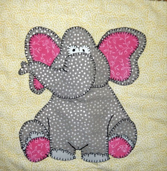 Elephant PDF applique quilt block pattern  This baby elephant is looking for an adventure! You could use this 7 by 7 square block as part of a whimsical zoo or safari nursery quilt, wall decoration, mug rug, pillow, busy book for a toddler or a cute African or Asian animal applique tote bag. Just use your imagination!  The 4-page printable kids quilt pattern includes ready-to-use individual pieces and a full-sized applique layout guide, along with instructions for creating your own energetic…